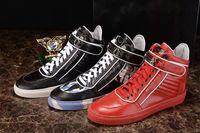 Wholesale Paris designers New Design High Top Shoes Bootie Leather Walk Sport Shoes Men Fashion Lace Up Casual Men Flats PP Men s Shoes