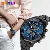 batteries light strap - SKMEI Outdoor Sport Watch Men Alarm Calendar Dual Display Wristwatches Waterproof Army Back Light Stainless Steel Strap Quartz Watches