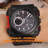 aviation leather - New Luxury High Quality AVIATION BR X1 Skeleton Quartz Chronograph Black PVD Men s Watch BR X1 CE TI RED Gift Box