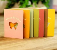 Wholesale Free ship pc Creative Valentine s Day paper greeting cards hollow small Festival holiday cards with paper envelope