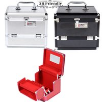 aluminium cosmetic cases - Hot Sale Professional Aluminium alloy Make up Box Makeup Case Beauty Case Cosmetic Bag Multi Tiers Lockable Jewelry Box
