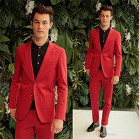 Wholesale Fashion Red Groom Tuxedos Slim Fit Blazer Men Suits Pants Coat With Pockets Two Buttons Young Men Tuxedo