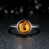 Cheap Poetic Droplet Genuine 925 Sterling Silver Rings with Citrine Yellow Crystal Stone Elegant Promise Engagement Wedding Rings for Women R067