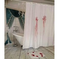 Wholesale Creepy Fun Blood Bath Shower Curtain Bloody Hands Designer Creative Blood Footprints Mat V01164