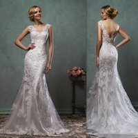 A-Line best western lacing - Amelia Sposa Wedding Gowns Best Western Open Back Cap Sleeves Lace Bridal Dresses Mermaid Trumpet Couture Dress For Brides
