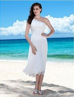 beach chair images - Elegant white scabbard a shoulder the Bohemian beach wedding dress tea length all chiffon dress without back of a chair