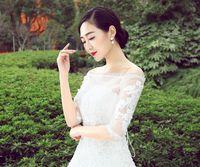 acrylic words - 2016 elegant word Shoulder all hand Long Sleeve Wedding Dress Shawl spring white lace Wedding Dress Shawl