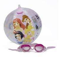 balls goggle - Professional Disney Princess Boys Waterproof Swimming Glasses Swimming Goggles set With PVC Water Ball Set DEY02036 A