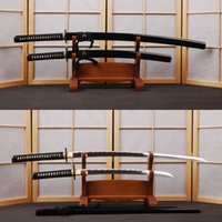 bamboo katana - Handmade Carbon Steel Japanese Swords Set Vintage Katana amp Samurai Wakizashi Full Tang Wave Hamon Sharp Edge Can Cut Bamboo