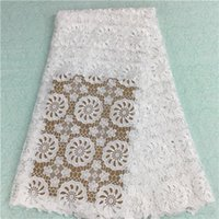 Wholesale White african cord lace fabric high quality for women dress latest color yard PLS