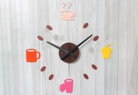 antique kitchen clocks - Leisure time coffee time creative high grade colorful acrylic D DIY sticker clocks creative Cafe decor home kitchen decoration
