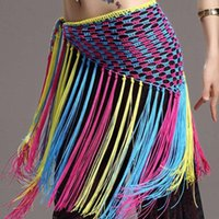 bellydance belt - Multicolored Belly Dancing Clothing Training Accessories Stretchy Long Tassel Triangle Belt Hand Crochet Bellydance Hip Scarf