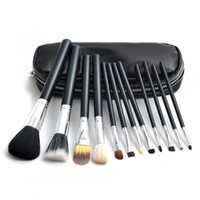 bags eye - 12pcs set Silver tube Makeup Brushes woman fashion Eye shadow Blusher brushes Makeup set Cosmetic Brushes Tools with bag DHL C1217