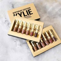 Wholesale 6PCS Kylie Matte Lord Metal Gold LIMITED EDITION KYLIE BIRTHDAY COLLECTION Lip gloss Kylie Birthday Edition Cosmetics Swatches