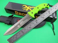 al por mayor ad marrón-2016 Browning 865 fija el cuchillo que acampa de la lámina de titanio de superficie 5Cr15Mov tácticos del cuchillo de caza al aire libre cuchillos de la supervivencia con los anuncios de Mango