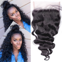 Cheap 7A 5x5 Lace Closure Loose Wave French Lace Bleached Knots natural Black color can be dyed Free Shipping