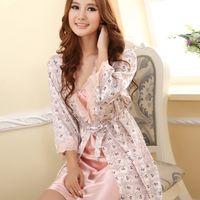 Wholesale Women Pajamas Robes Sexy Sleepwear Suit Nightgown Dress Rayon Silk Babydoll