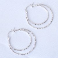 Wholesale Brand k white gold plated AAA double round Hoop earrings Health Nickel amp Lead free Fashion jewelry JE725