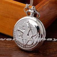 Wholesale Fashion Small Fullmetal Alchemist Quartz Silver Pocket Watch with Necklace Chain Men Women Stainless steel relogio de bolso