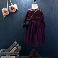 Wholesale Eleenbaby retail new autumn European and American little girls dresses lace smock girl gauze dress