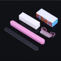 Wholesale 5Pcs Professional Manicure Tools Kit Rectangular Nail Files Brush Nail Art Accessories styling tools