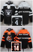 bengals hoodies - 2016 New Bengals Raiders Custom Men s Hoodies Black Gray DALTON CARR Sweatshirts Football Jerseys High Quality Stitched Wear