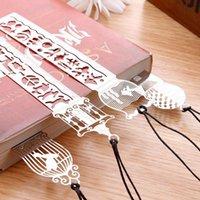 Wholesale 4 Styles Metal Bookmark Ruler JoyTong Creative Hollow Mini Cute Fish Flower Bookmarks Template Christmas Birthday Gifts E878E