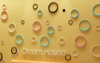 abstract art colors - Free DHL set New Style Lovely D Round adhesive Wall stickers house decorative stickers wall stickers Colors set