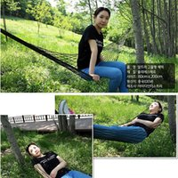 Wholesale New Outdoor Mesh Camping Hammock For Single Bold Dark Green And Blue Nylon Rope Hanging Bed With Bandage And Pouch Bag