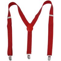 Wholesale Metal Thread Decor Adjustable Clip Y Shaped Suspender Braces Red for Ladies