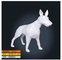 antique dog art - Glass steel dog statue white animal sculpture wolf dog for sale European style Home Furnishing decoration