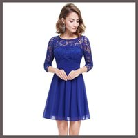 Cheap Hot Sale Autumn Women Clothes Sexy Blue Lace Short Pleated Skirt Fashion Womens Night Prom Dresses Patchwork Chiffon Cute Party Dinner Dress