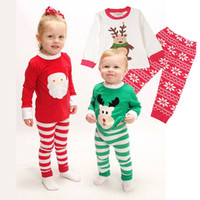 Санта костюмы Цены-2016 Новые малыши Рождество 2PCS костюмы 3 Стили Мальчики Рождество Санта-пижама Set Пижама Дети осени весны сна Одежда Установить в наличии