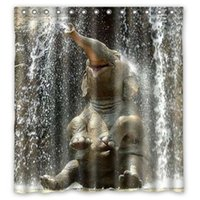 Wholesale elephant building water Print x180cm Waterproof Fabric Bathroom Shower Curtain With Curtain Hook
