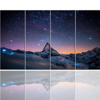 bedroom decoration pictures - 4 Set Starry sky and mountains painting Modern Wall Oil Art Bedroom Home living room decoration Children s gift