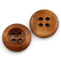 Wholesale Wood Sewing Buttons Scrapbooking Holes Round Dark Brown quot Dia M69398 Buttons