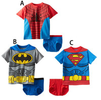 batman childrens costume - Cartoon Costume Cotton Kids Sets Boys Clothes Batman Baby Boy Shirts Superman Infant Underpants Set Spiderman Childrens Clothing