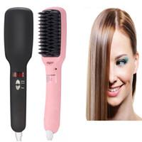 Wholesale NEW V Escova Alisadora Fast Electric Smooth Brush Ceramic Hair Straightener Comb in1 Anion Straight Comb Auto LCD Brush