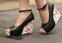 Wholesale 2016 Shoes women Brand Wedding shoes New Shallow mouth Wedges Shoes female Summer Patterned Wedge sandals size Fish head shoes Sandals Thick