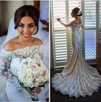 Wholesale Vestido de noiva New Boat Neck Long Sleeves Court Train Pearls Lace Mermaid Wedding Dresses Long Sleeve Applique Elegant Bridal Dress