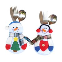 Wholesale Christmas Snowman Tableware Bag Knives Forks Bags Desktop Decorations Xmas Home Dinnerware Supplies