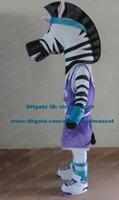 band mascots - Strong White Madagascar Manti Marty Zebra Pinto Mascot Costume Cartoon Character Mascotte Black Mouth Blue Hair Band ZZ1361 FS
