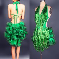 Wholesale 7 color Latin Rumba Samba on stage costumes sexy dress ballroom V collar clothes tassels sequins fishbone skirt