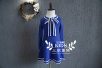 Wholesale Han edition sweet child big bowknot receives skirt of small and medium sized wind princess dress girls college fall cotton long sleeve dress