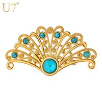 animal shaped fans - unique Fan Shaped Turquoise Brooches For Women K Real Gold Platinum Plated Colors Bohemian Clip Brooches Jewelry B106