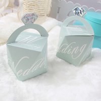 Wholesale 100pcs Diamond Blue Candy Box Paperboard Jewelry Gift Case Pouch Favor Sweets Boxes Wedding Decoration Event Party Supplies