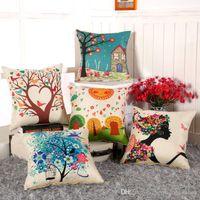 Wholesale 2016 DHL New Arrival Hot Sale Cotton Linen Cartoon Throw Pillow Case Cushion case