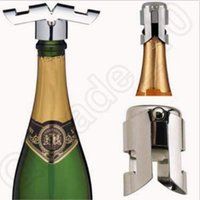 Wholesale Creative Stainless Steel Champagne Stopper Sparkling Funnel Wedding Bar Wine Stopper Bottle Stopper Plug Sealer Pourers CCA5140