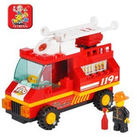 small engines - SLUBAN little Small Luban building block sets educational blocks SimCity fire engine children assembled puzzle toy
