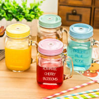 Wholesale Creative My Personality Gradient Color Mason Jar Bottle For icecream Fruit Installed Cold Drink Infusion Colored Glass Water Bottles
